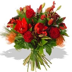 Deluxe Holiday Roses - Bouquets on www.flowerstopetersburg.com