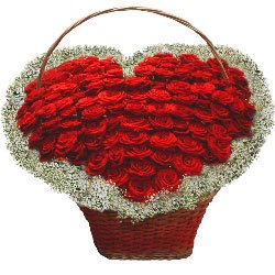 More Than Words Heart-Shaped Roses Basket